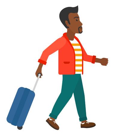 Een Afro-Amerikaanse man lopen met een koffer vectorillustratie platte ontwerp geïsoleerd op een witte achtergrond.