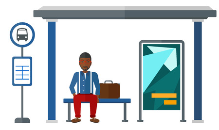 waiting passengers: An african-american man waiting for a bus at a bus-stop vector flat design illustration isolated on white background. Illustration