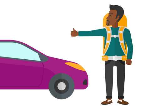 hitch hiker: An african-american traveler hitchhiking trying to stop a car vector flat design illustration isolated on white background.