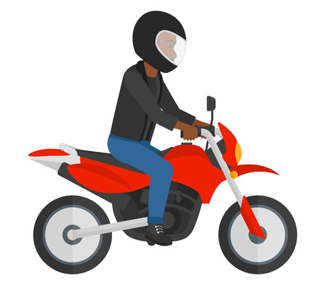 An african-american man riding a motorcycle vector flat design illustration isolated on white background.