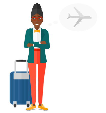 An african-american woman frightened by future flight vector flat design illustration isolated on white background.