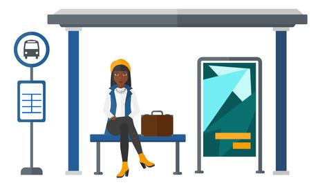 버스 정류장 벡터 플랫 디자인 일러스트 흰색 배경에 고립에서 버스를 기다리고는 아프리카 계 미국인 여자.