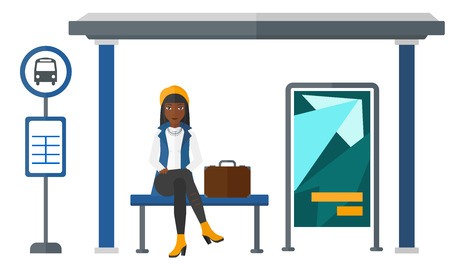 An african-american woman waiting for a bus at a bus-stop vector flat design illustration isolated on white background.