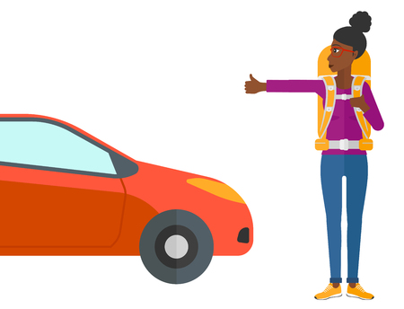 wanderer: An african-american traveler hitchhiking trying to stop a car vector flat design illustration isolated on white background.
