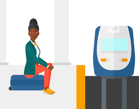 An african-american woman sitting on a railway platform and waiting for a train vector flat design illustration isolated on white background. Illustration