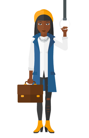 An african-american woman with a suitcase standing inside a train vector flat design illustration isolated on white background. Ilustrace