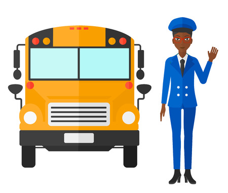 An african-american driver standing in front of school bus vector flat design illustration isolated on white background.