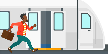Latecomer man running along the platform to reach the train vector flat design illustration isolated on white background. Illustration
