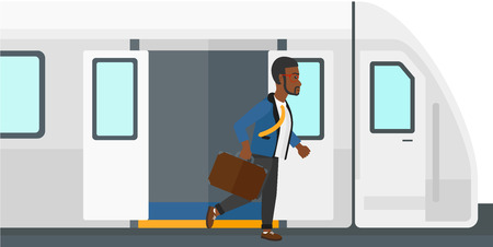 going out: An african-american man going out of the train vector flat design illustration isolated on white background.