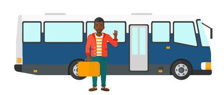 白い背景に分離されたバス ベクトル フラット デザイン イラストの入り口のドアに立っているアフリカ系アメリカ人男性。