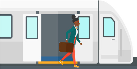 An african-american woman going out of the train vector flat design illustration isolated on white background.