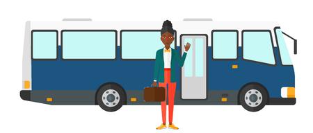 白い背景に分離されたバス ベクトル フラット デザイン イラストの入り口のドアに立っているアフリカ系アメリカ人の女性。  イラスト・ベクター素材