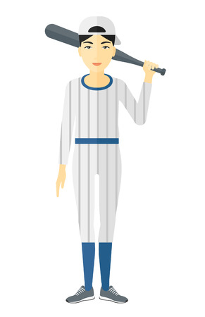 An asian baseball player standing with a bat vector flat design illustration isolated on white background. Vectores