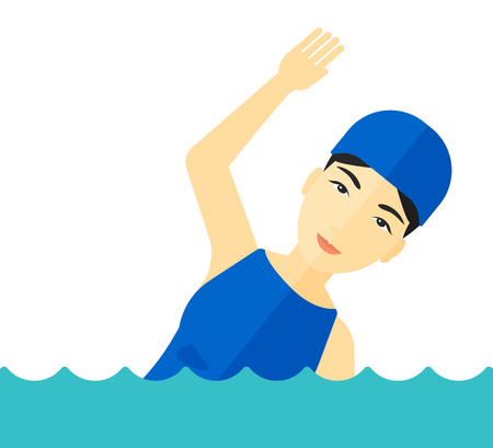 An asian swimmer wearing cap training in water vector flat design illustration isolated on white background. Ilustração