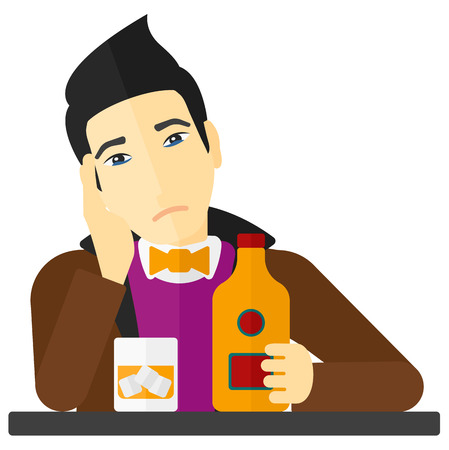 sorrowful: An asian sad man sitting at the table with a bottle and a glass vector flat design illustration isolated on white background.