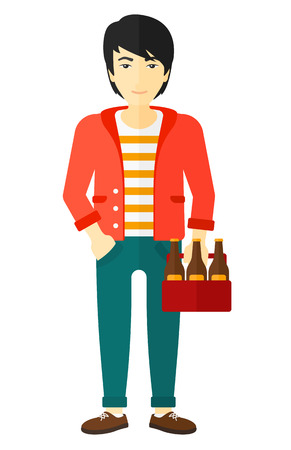 intoxicant: An asian man holding a pack of beer in hands vector flat design illustration isolated on white background.