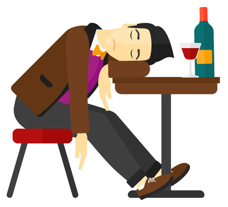 An asian man sleeping at the table with a glass and a bottle on it vector flat design illustration isolated on white background.