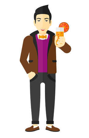 An asian man holding a glass of juice vector flat design illustration isolated on white background.