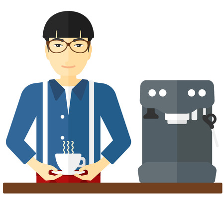 preparing: An asian man preparing coffee with coffee-machine vector flat design illustration isolated on white background.