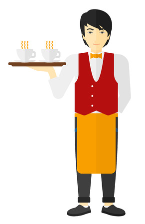 An asian waiter holding a tray with cups of tea or coffee vector flat design illustration isolated on white background. Illustration