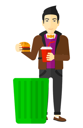 foodstuffs: An asian man putting junk food into a trash bin vector flat design illustration isolated on white background. Illustration