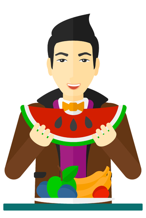 An asian man eating watermelon while standing in front of table full of organic healthy food vector flat design illustration isolated on white background.
