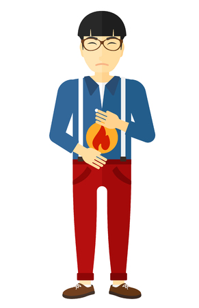fire in the belly: An asian man suffering from heartburn vector flat design illustration isolated on white background.