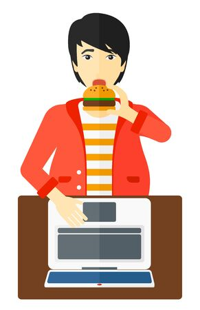 asian man laptop: An asian fat man standing in front of a laptop while eating junk food vector flat design illustration isolated on white background.