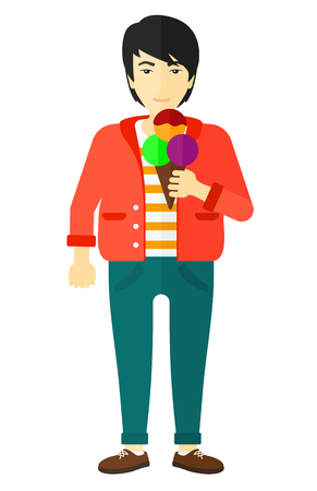 An asian fat man holding a big icecream in hand vector flat design illustration isolated on white background.