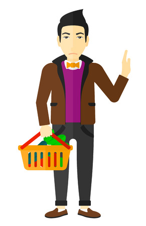 refusing: An asian man holding a supermarket basket full of healthy food and refusing junk food vector flat design illustration isolated on white background.