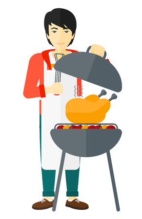 An asian man cooking chicken on barbecue vector flat design illustration isolated on white background. Ilustração