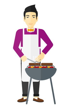 grilling: An asian man preparing barbecue vector flat design illustration isolated on white background.