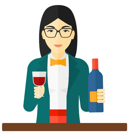 An asian woman holding a bottle and a glass in hands vector flat design illustration isolated on white background.
