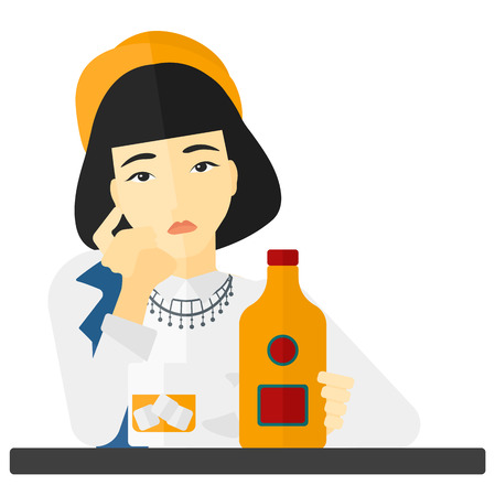 An asian sad woman sitting at the table with a bottle and a glass vector flat design illustration isolated on white background. Illustration