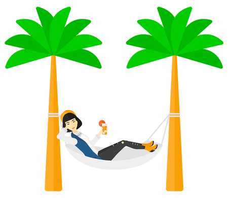 chilling: An asian woman chilling in hammock with a cocktail in a hand vector flat design illustration isolated on white background.