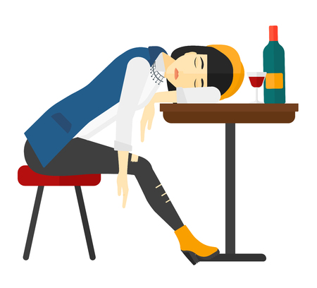 An asian woman sleeping at the table with a glass and a bottle on it vector flat design illustration isolated on white background.