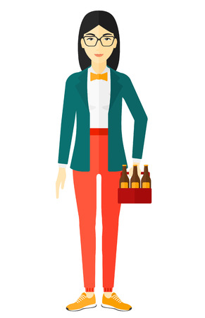 intoxicant: An asian woman holding a pack of beer in hand vector flat design illustration isolated on white background.