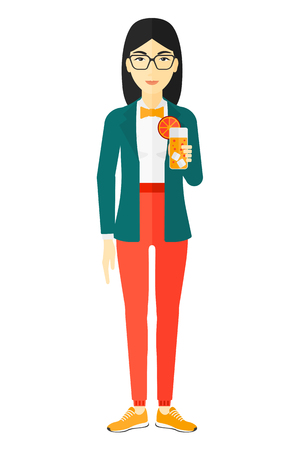 clang: An asian woman holding a glass of juice vector flat design illustration isolated on white background.