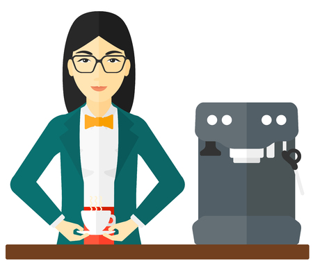 preparing: An asian woman preparing coffee with coffee-machine vector flat design illustration isolated on white background.