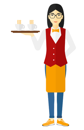 hospitality staff: An asian waiteress holding a tray with cups of tea or coffee vector flat design illustration isolated on white background. Illustration
