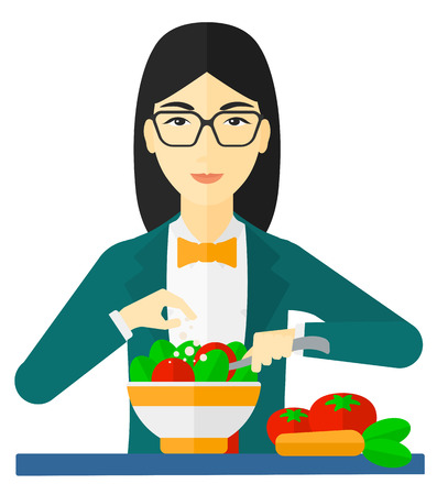 prepare: An asian woman cooking vegetable salad vector flat design illustration isolated on white background.