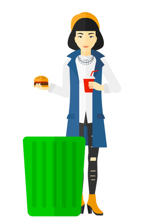 An asian woman putting junk food into a trash bin vector flat design illustration isolated on white background.