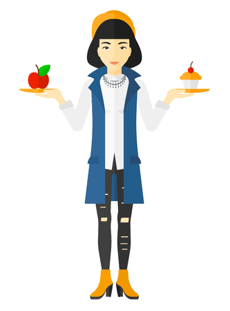 harmful: An asian woman with apple and cake in hands symbolizing choice between healthy and unhealthy food vector flat design illustration isolated on white background.
