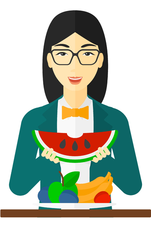healthy woman white background: An asian woman eating watermelon while standing in front of table full of organic healthy food vector flat design illustration isolated on white background. Illustration