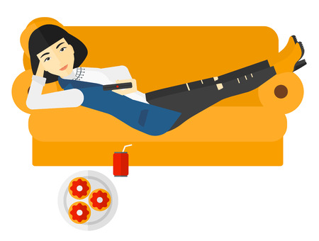 laying: An asian woman lying on a sofa with a remote control in her hand and some donuts and soda on the floor vector flat design illustration isolated on white background. Illustration