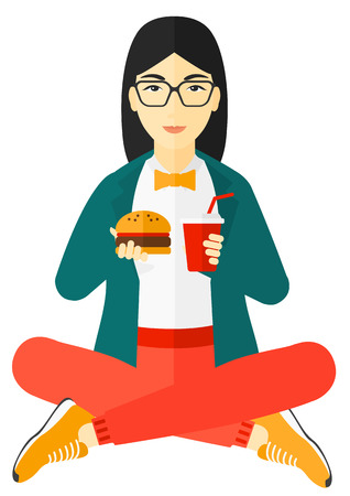 An asian fat woman sitting on the floor and eating hamburger and drinking soda vector flat design illustration isolated on white background. 向量圖像