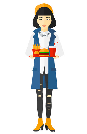 french ethnicity: An asian woman holding a tray full of junk food vector flat design illustration isolated on white background.