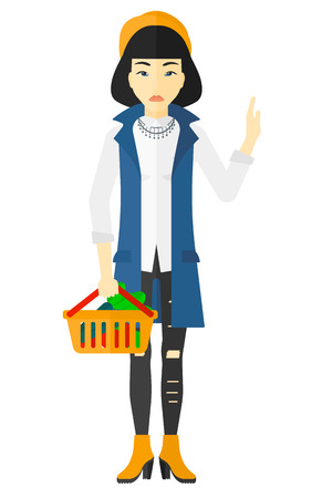 refusing: An asian woman holding a supermarket basket full of healthy food and refusing junk food vector flat design illustration isolated on white background. Illustration