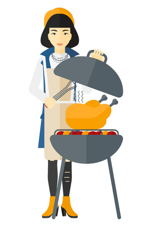 woman cooking: An asian woman cooking chicken on barbecue vector flat design illustration isolated on white background.