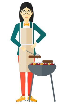preparing: An asian woman preparing barbecue vector flat design illustration isolated on white background. Illustration